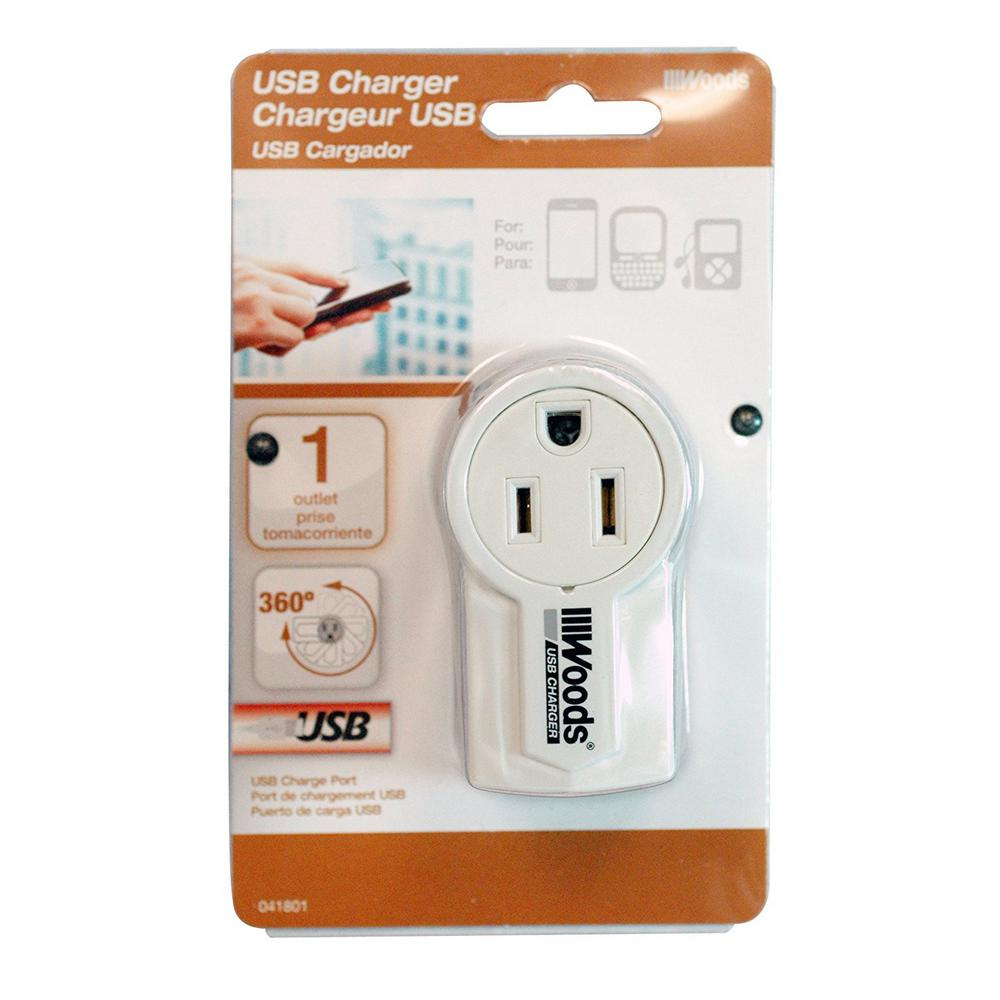 Woods Rotatable USB Charger - White The Rotatable USB Charger has a rotatable design that is flexible in small and tight spaces, so you don't need to move furniture and appliances out of the way. This is ideal for charging personal portable electronic devices such as Smartphone, MP3 players and other hands-free devices. Use it in any room throughout the home or while travelling to the office, airport, or hotel. Compact in size, this charger is small enough to fit in your pocket, briefcase or bag to take with you wherever you go. The Rotatable USB Charger comes with a 1-year limited warranty that protects against manufacturer defects in materials and workmanship.
