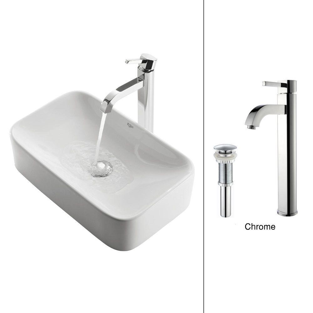 KRAUS Soft Rectangular Ceramic Vessel Sink in White with Ramus ...