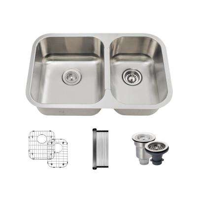 All-in-One Undermount Stainless Steel 27-1/2 in. 55/45 Double Bowl Kitchen Sink