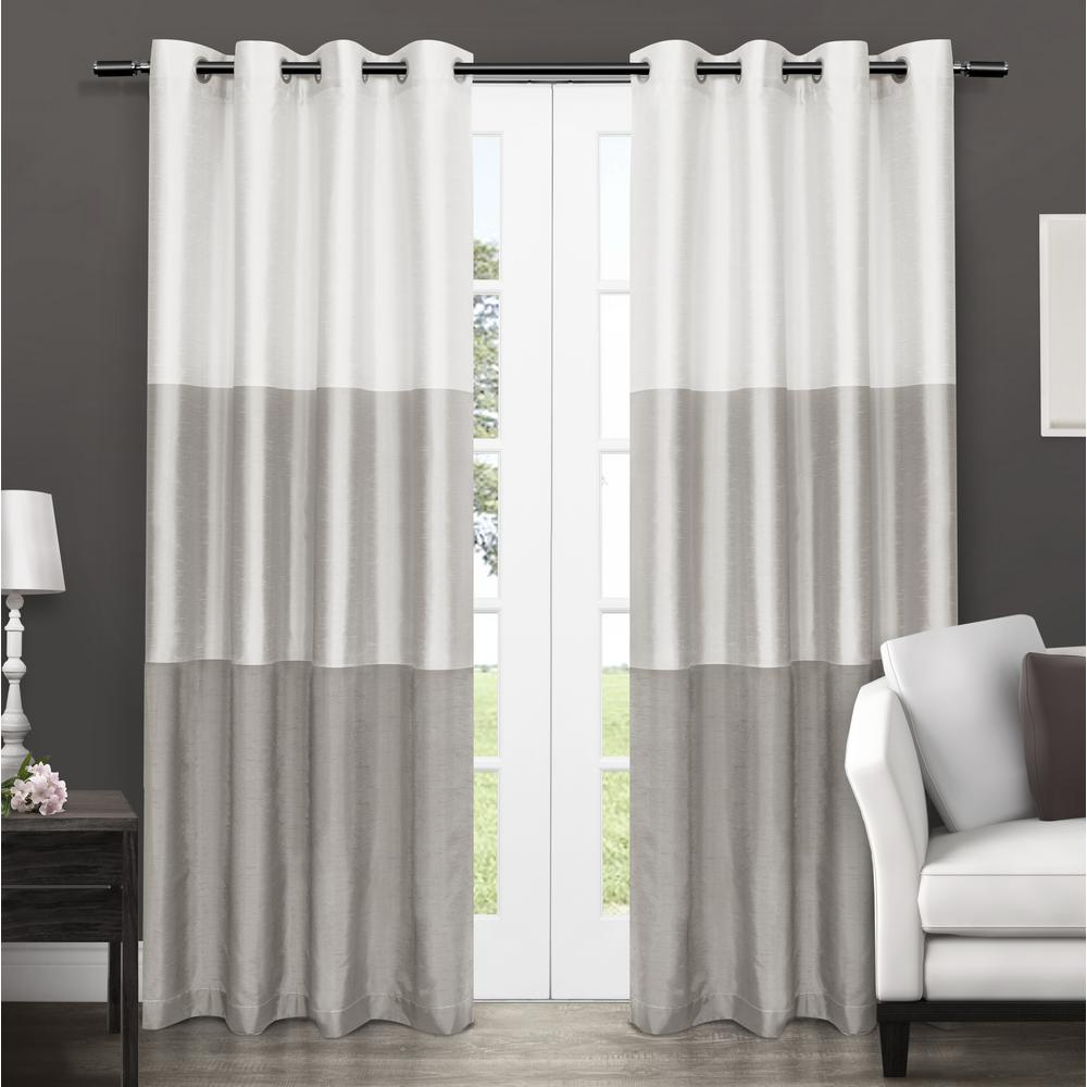 W X 96 In L Faux Silk Grommet Top Curtain Panel Dove Gray 2 Panels Eh7970 01 96g The Home Depot