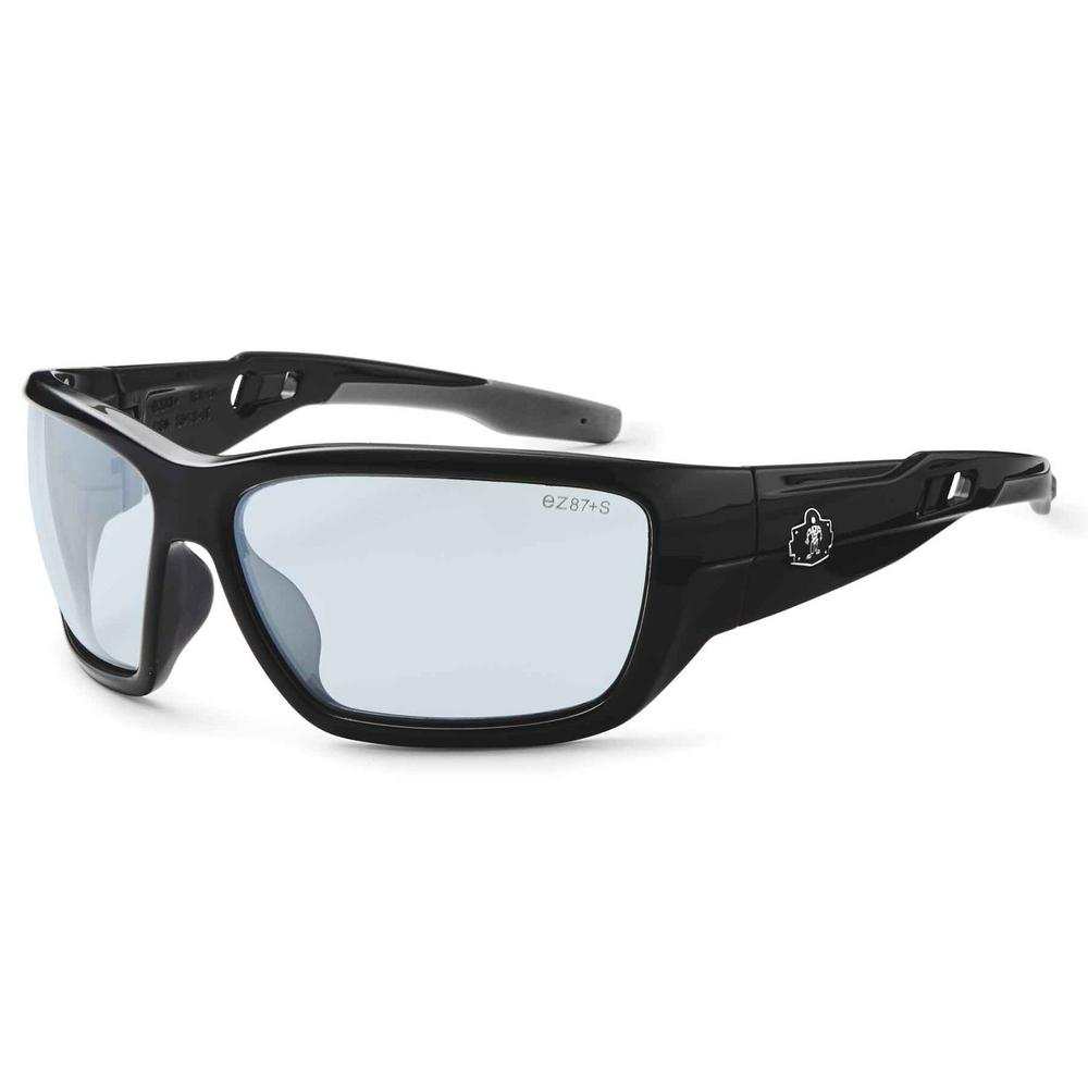 Ergodyne Skullerz Baldr Black Safety Glasses, In/Outdoor Lens - ANSI Certified