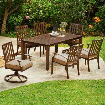 Bridgeport 7-Piece Aluminum Outdoor Dining Set with Tan Cushions