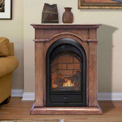 28 in. 15,000 BTU T-Stat Ventless Dual Fuel Fireplace with Mantel in Toasted Almond