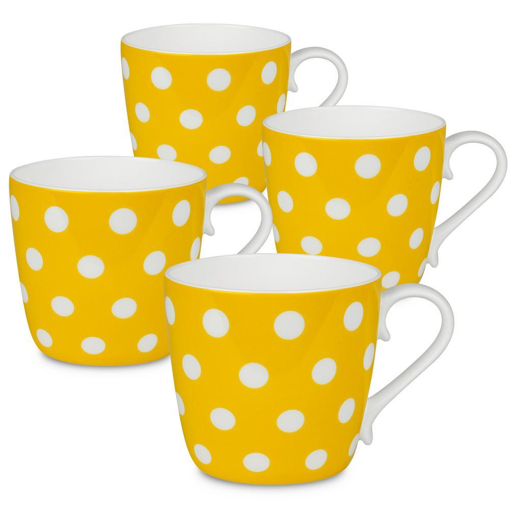 Konitz 4-Piece Polka Dots Sun Bone China Mug Set