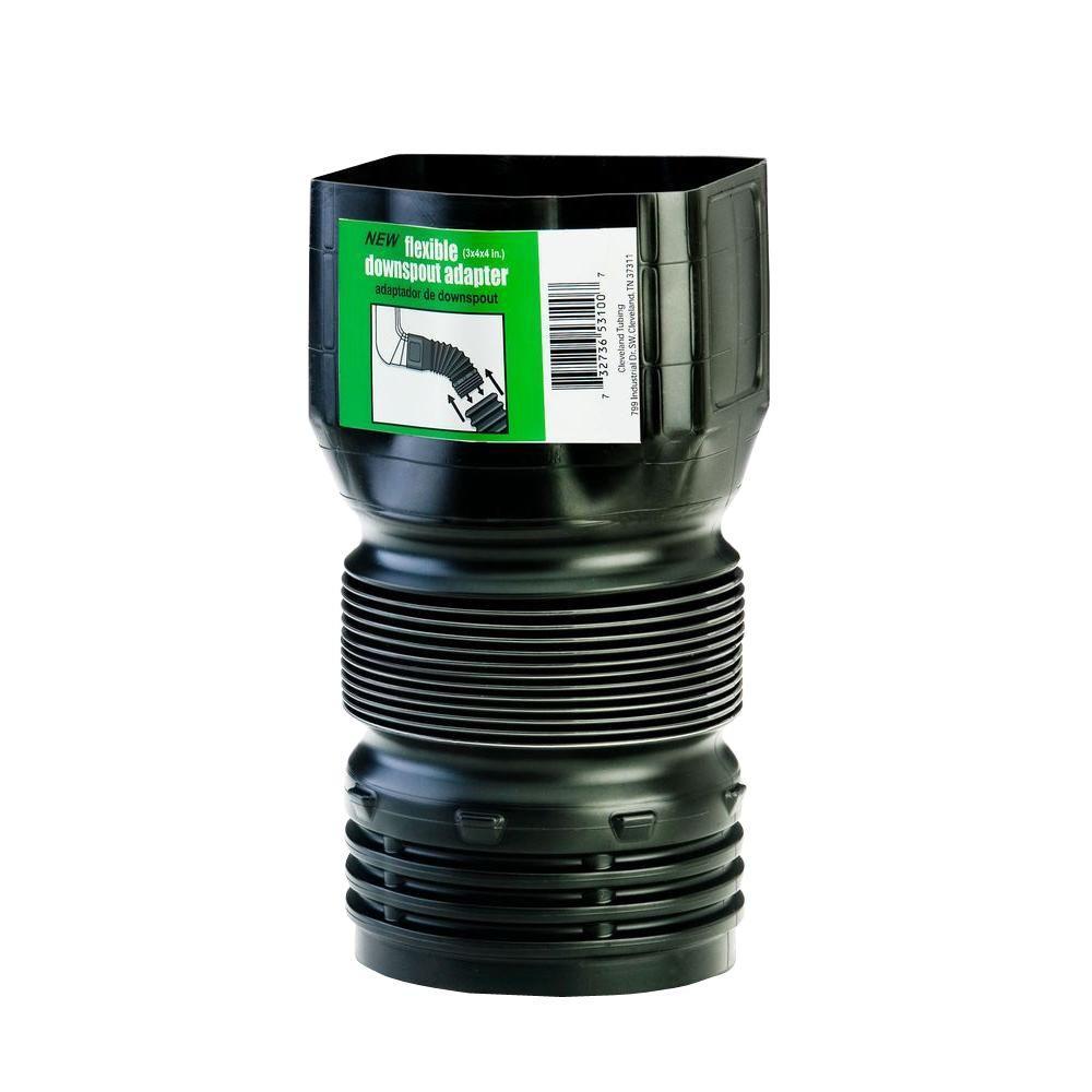 Flex Drain 3 In X 4 In Polypropylene Downspout Adapter