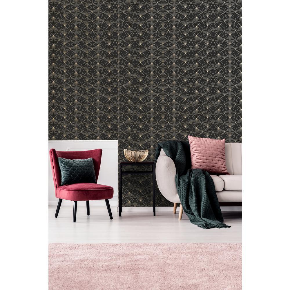 Kabuki Diamond Black and Gold Removable Wallpaper