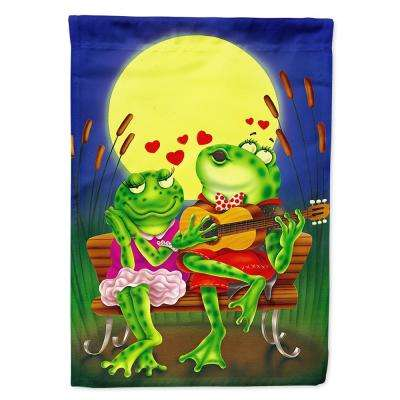 11 in. x 15-1/2 in. Polyester Frog Love Songs 2-Sided 2-Ply Garden Flag