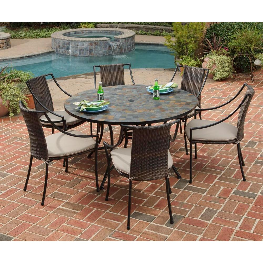 Home Styles Stone Harbor 7 Piece Round Patio Dining Set With Taupe Cushions