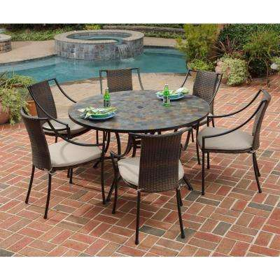Stone Harbor 7-Piece Round Patio Dining Set with Taupe Cushions