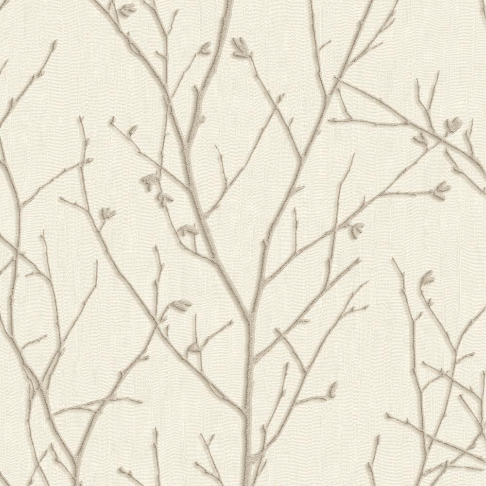 Graham Brown Evita Water Silk Sprig Ivory Wallpaper Sample