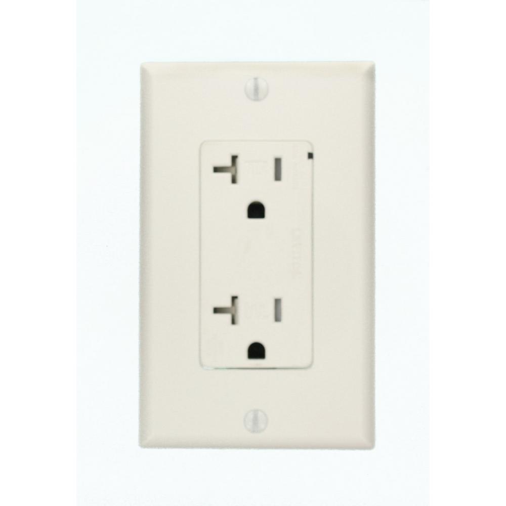 Decora Plus 20 Amp Commercial Grade Tamper Resistant Self Grounding Duplex Surge Outlet, White