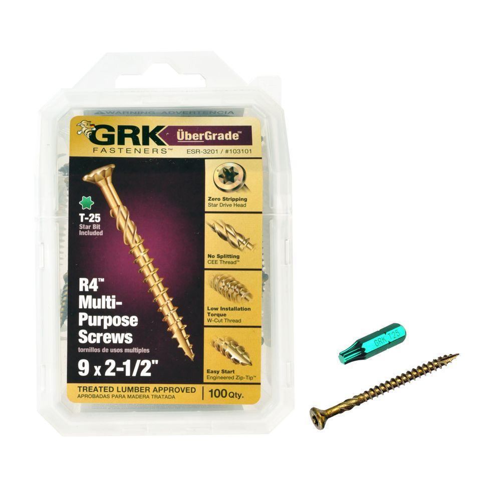 GRK Fasteners #9 x 2-1/2 in. Star Drive Bugle Head R4 Multi-Purpose Screw (100-per Pack)