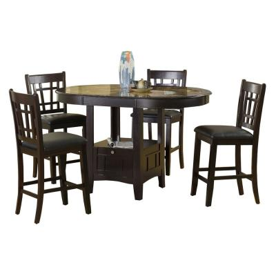 Home Source Charleston Cappuccino Counter Height Dining Table with Faux Marble Table Top and Base Storage