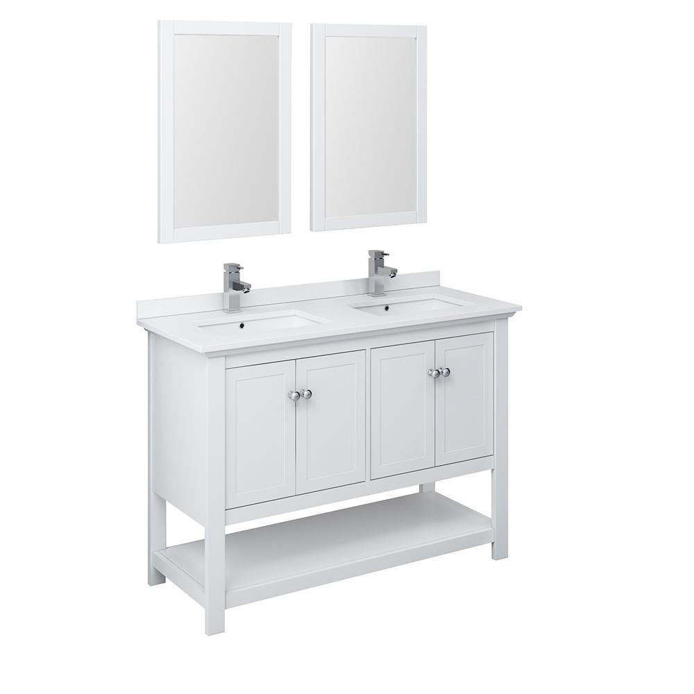 W Bathroom Double Bowl Vanity In White With Quartz Stone Vanity