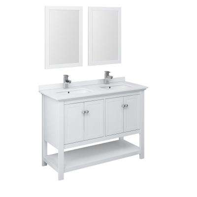 Manchester 48 in. W Bathroom Double Bowl Vanity in White with Quartz Stone Vanity Top in White with White Basins,Mirrors