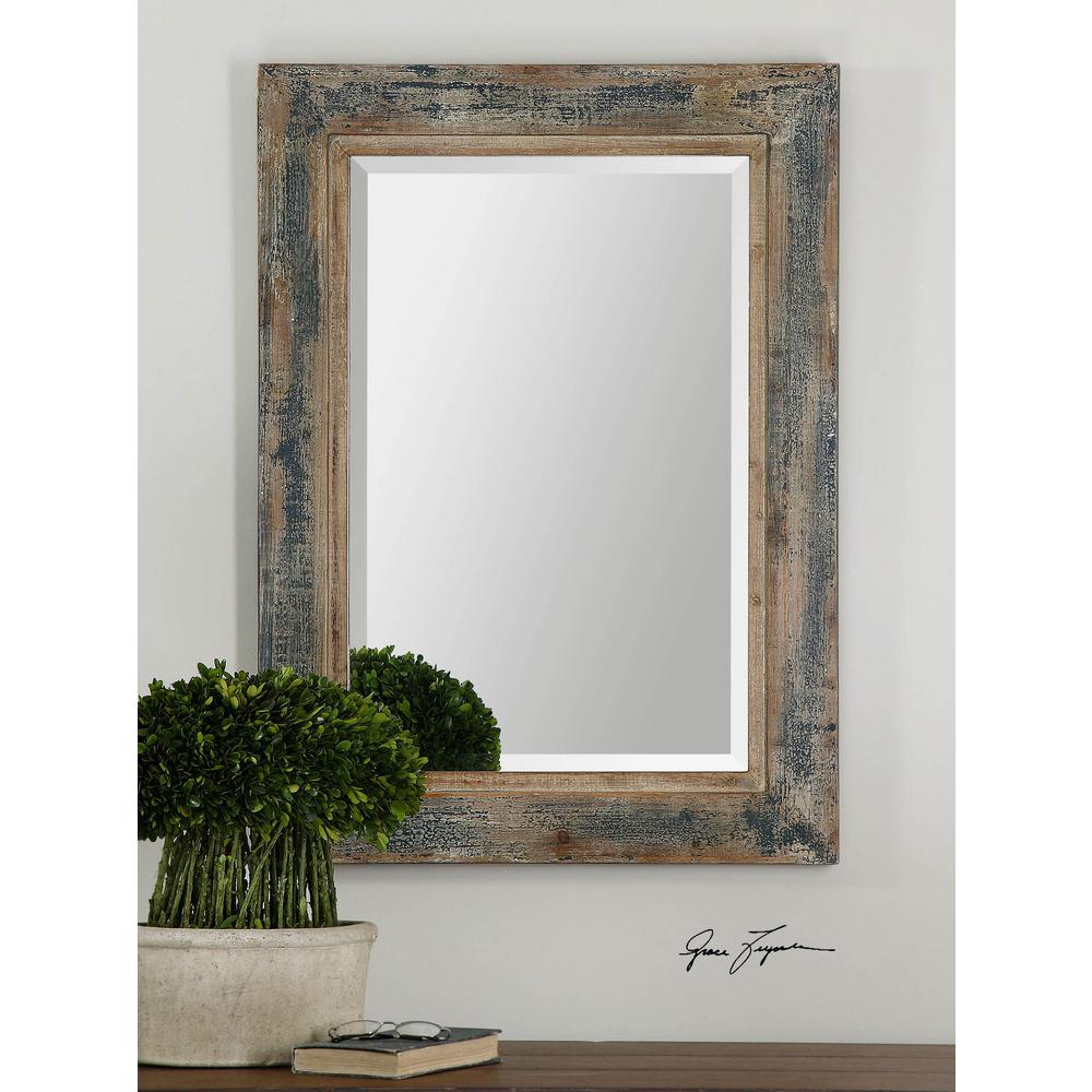 Global Direct 38 in. x 28 in. Aged Blue Framed Mirror