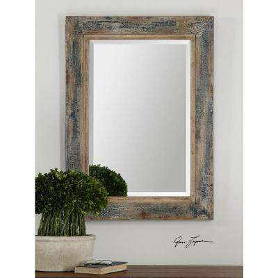 38 in. x 28 in. Aged Blue Framed Mirror