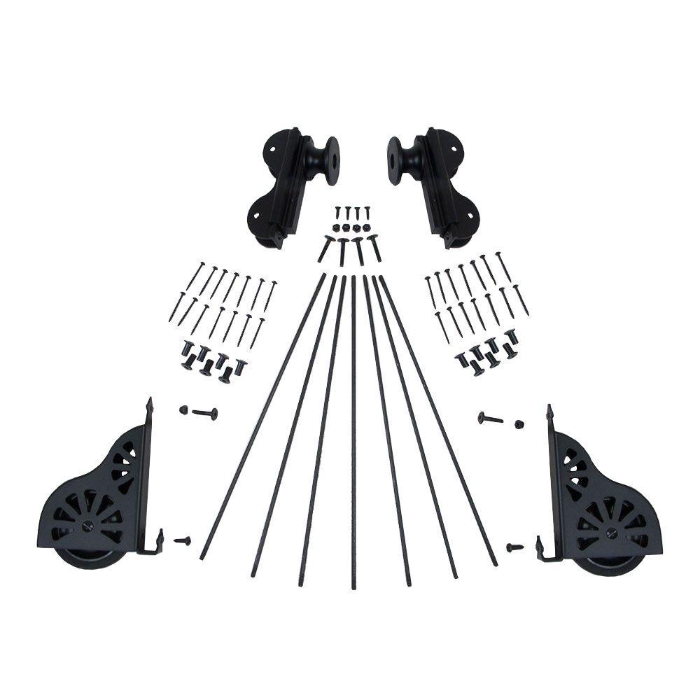 Quiet Glide Black Rolling Hook Ladder Hardware Kit