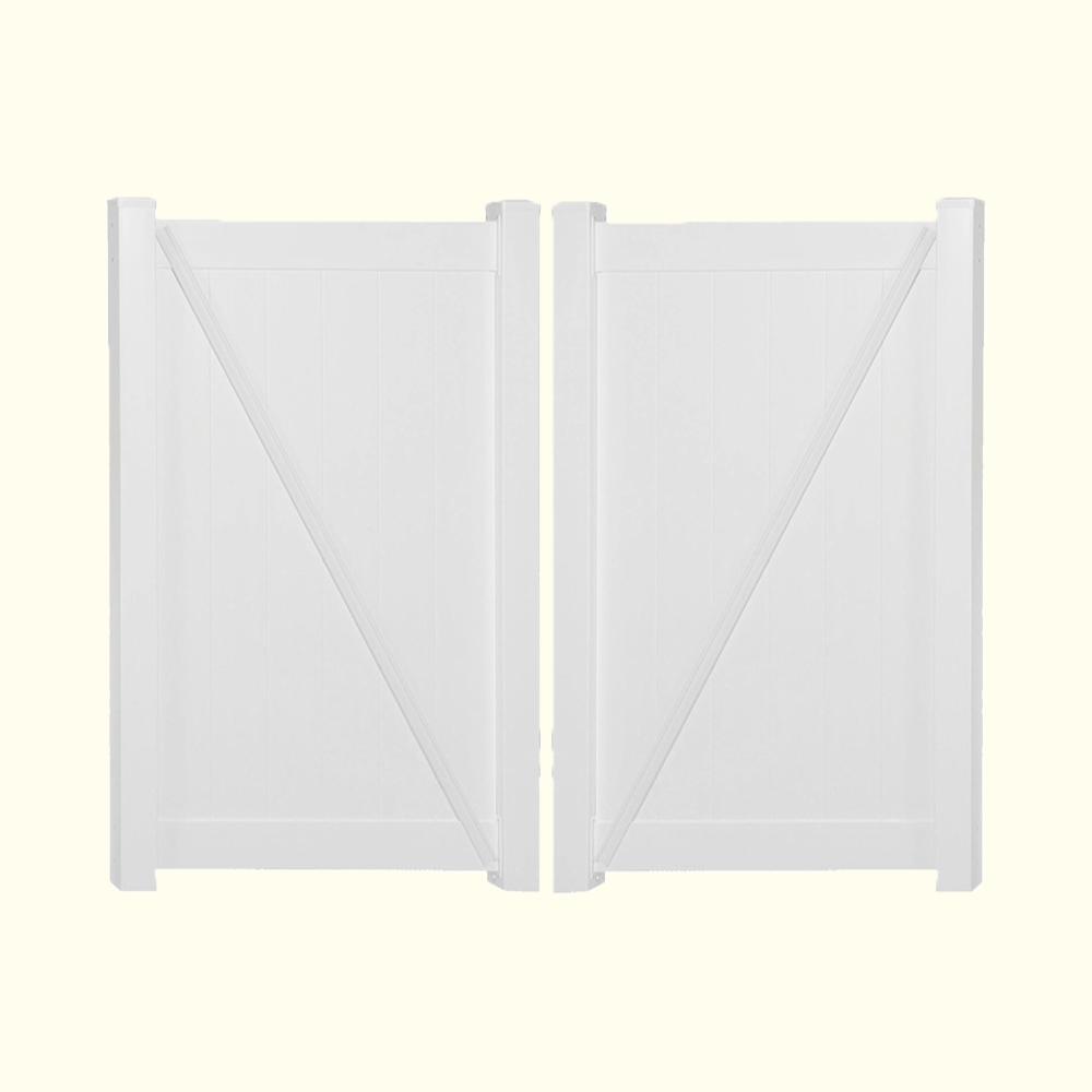 Weatherables Pembroke 10.8 ft. W x 6 ft. H White Vinyl Privacy Double Fence Gate Kit