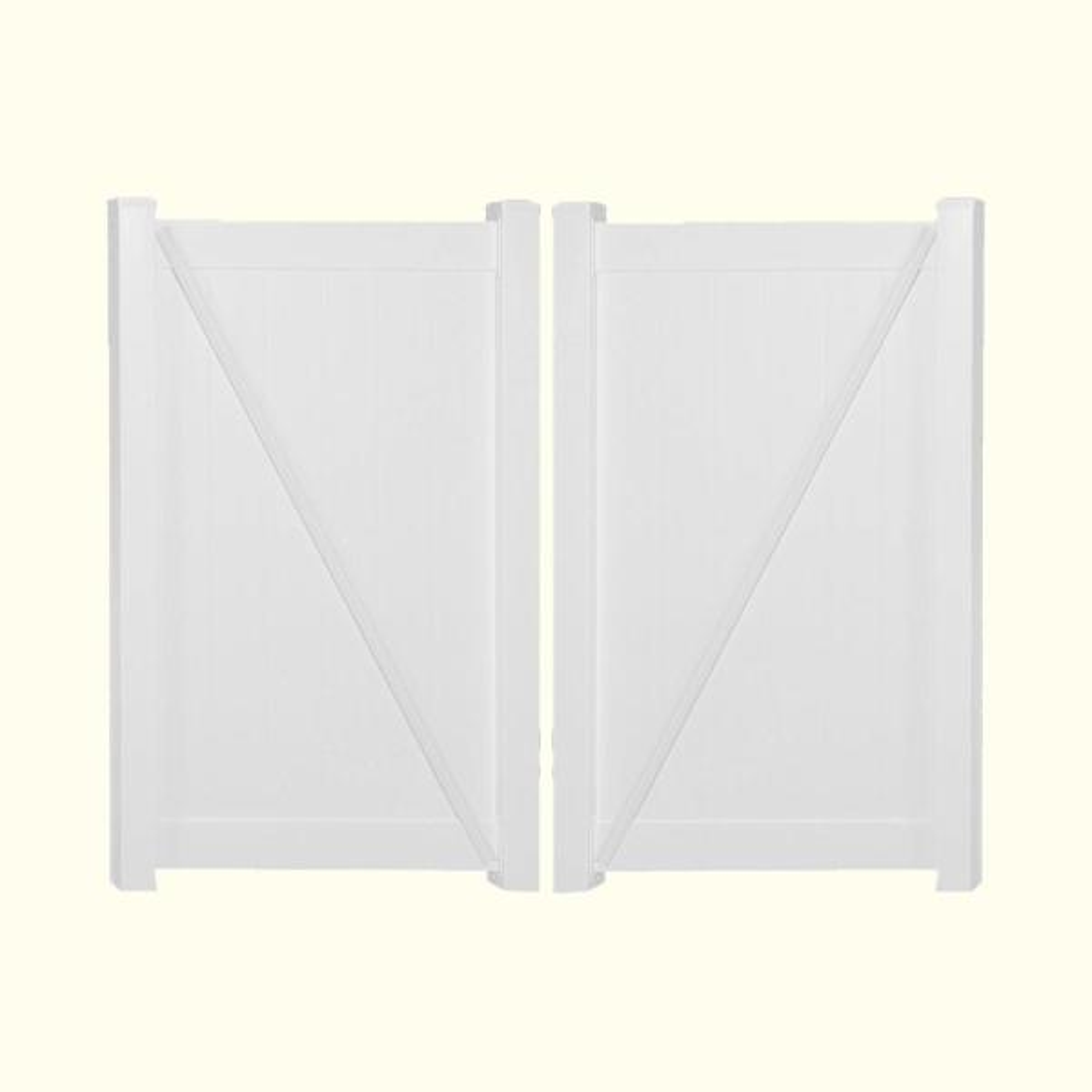 Pembroke 10.8 ft. W x 6 ft. H White Vinyl Privacy Double Fence Gate Kit