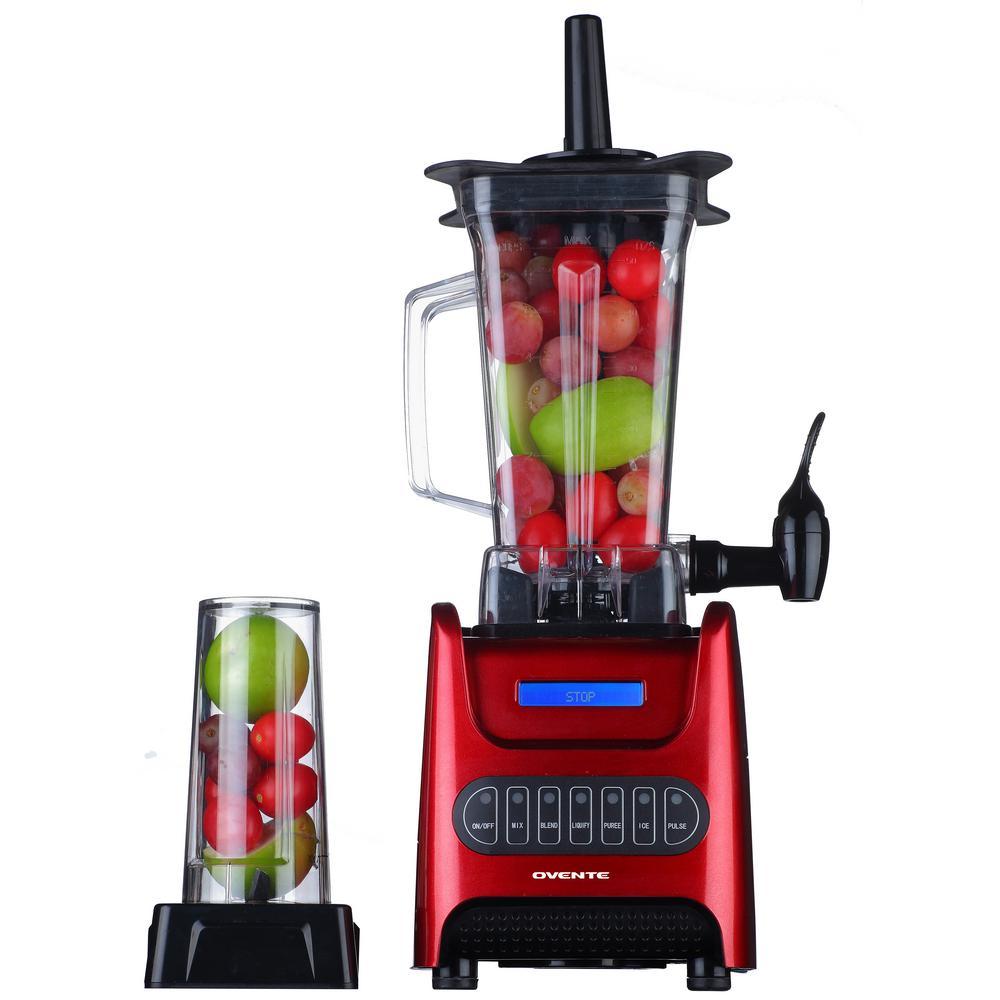 13.5 oz. 1000-Watt Red Robust Professional Blender with BPA Free, Blender Jar Travel Mug and Tamper