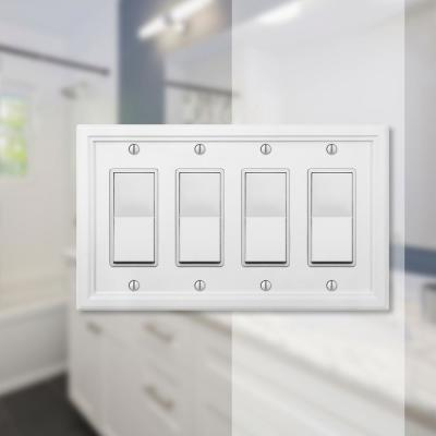 Elly 4 Gang Rocker Composite Wall Plate - White