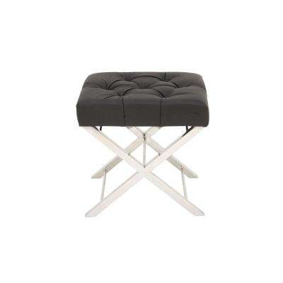 Modern Black and Silver Tufted Ottoman