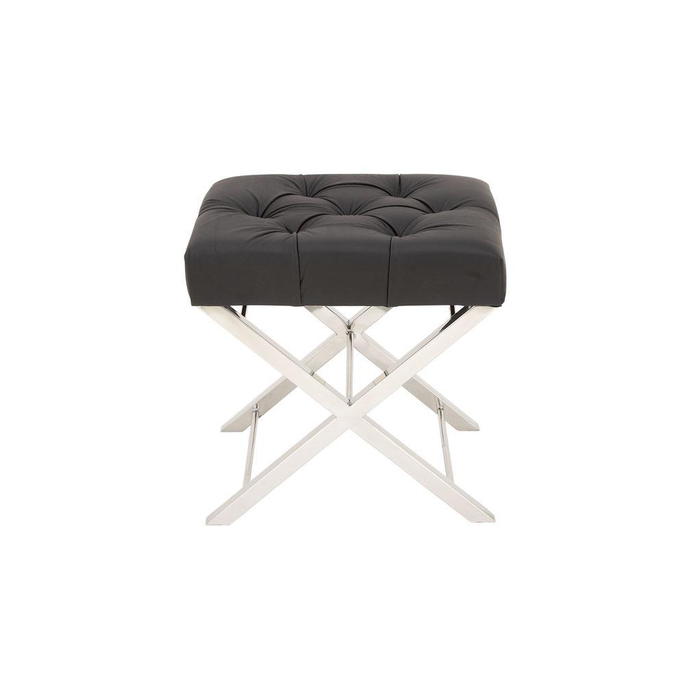 Cool Modern Black And Silver Tufted Ottoman Short Links Chair Design For Home Short Linksinfo