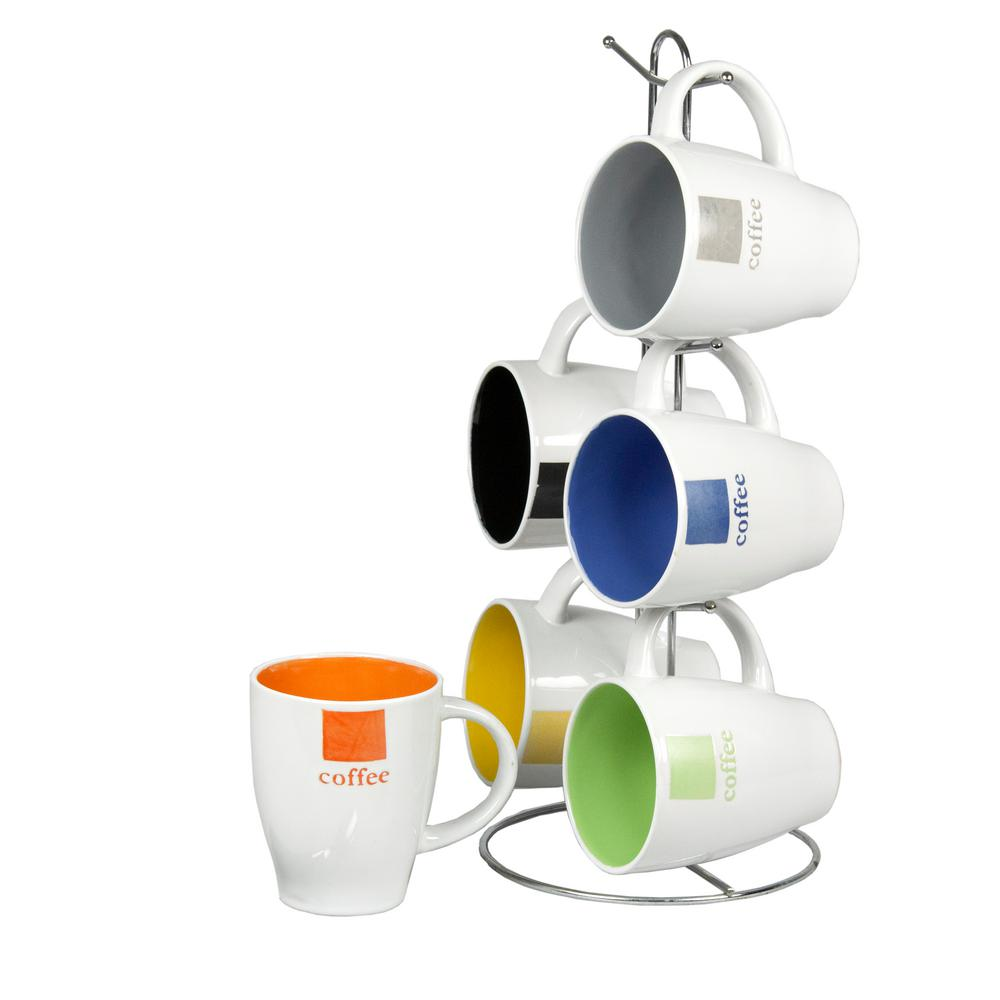 HOMEbasics Home Basics 6-Piece 11 oz. Mug Set with Stand, Multi-Color
