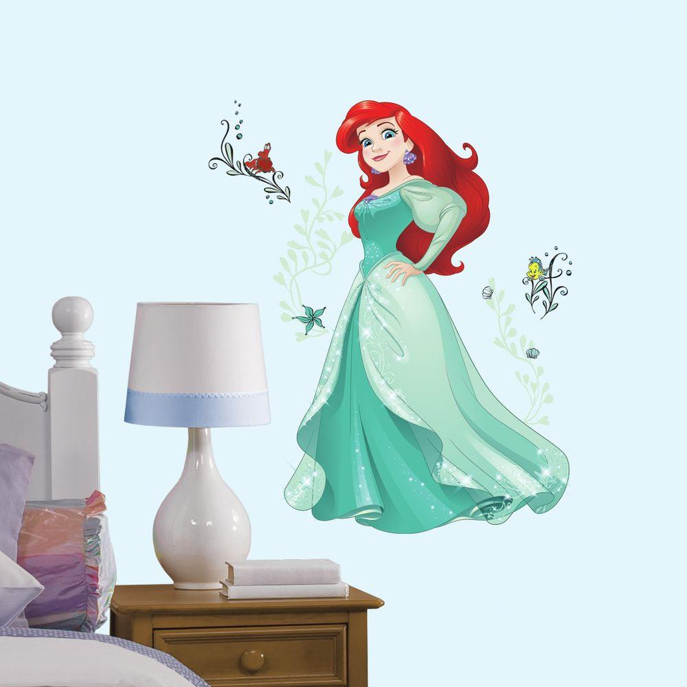 5 in. x 19 in. Disney Sparkling Ariel 13-Piece Peel and