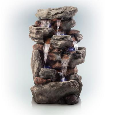 52 in. Tall Outdoor 5-Tier Rainforest Rock Water Fountain with LED Lights