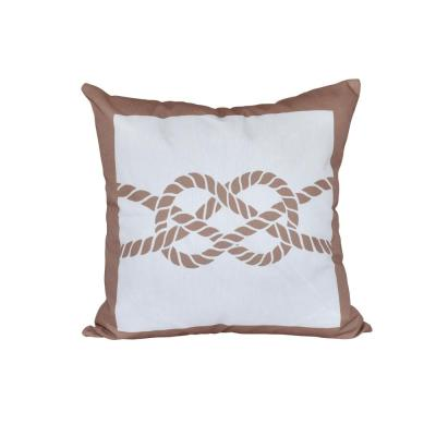 Nautical Knot Taupe and Beige Geometric 16 in. x 16 in. Throw Pillow