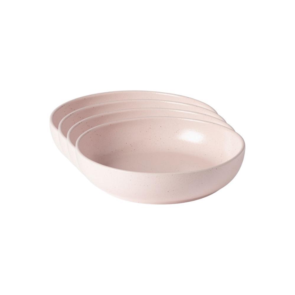 Pacifica 33 fl. oz. Marshmallow Rose Pink Stoneware Pasta Bowl (Set of 4)