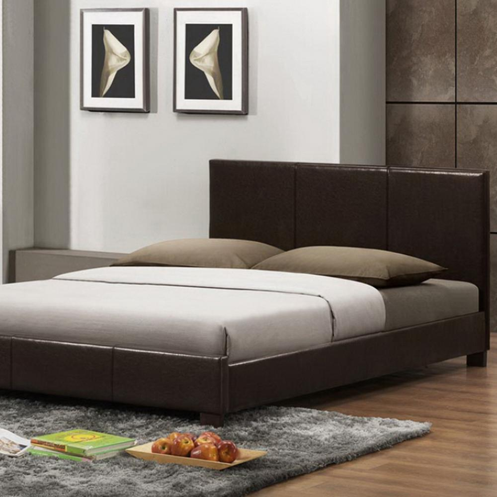 Pless Contemporary Dark Brown Faux Leather Upholstered Queen Size Bed
