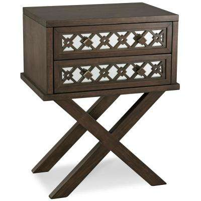 Leick Home Mirrored Diamond Filigree X Base Nightstand/Table with 2-Drawers