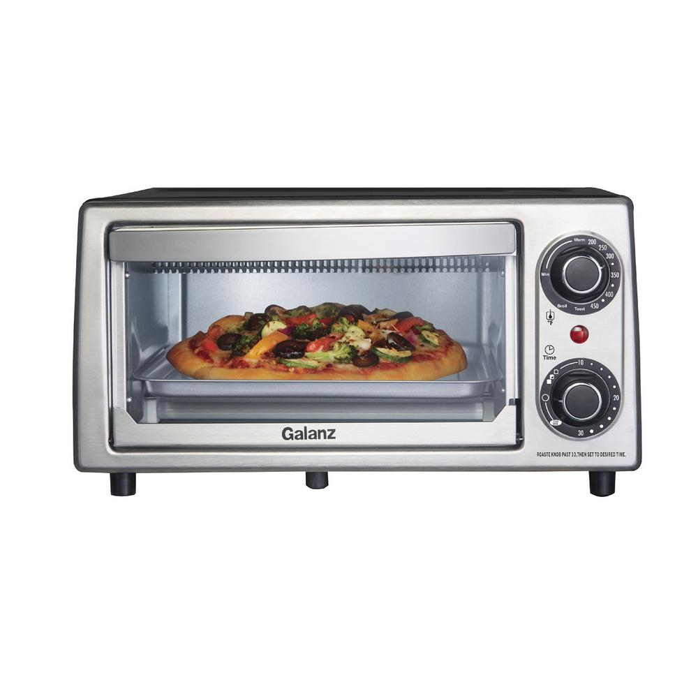 4-Slices Toast, 9-Pizza Toaster Oven Stainless Steel Look, Stainless Steel Panel And Matt Black Painted Housing This classic toaster oven delivers 1,000-Watts to help you Warm, Toast, and Broil. Precise temperature is dial controlled so your food comes out perfectly toasted every time. The interior holds 4 toast slices and/or 9 in. pizza making it easy to prepare meals and adding a valuable addition to any kitchen. Color: Stainless steel panel and Matt black painted housing.