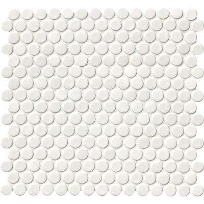 White Glossy Penny Round 12 in. x 12 in. x 6mm Porcelain Mesh-Mounted Mosaic Tile (20 sq. ft. / case)