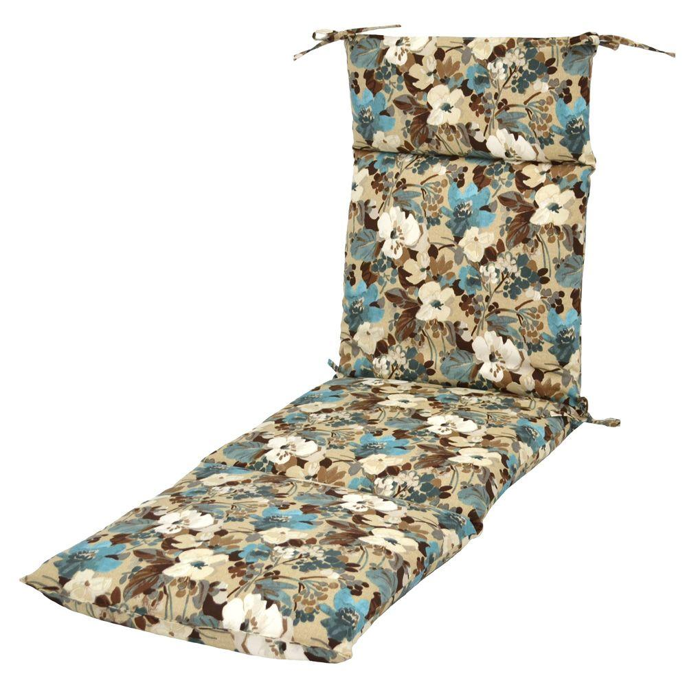 Hampton Bay Riviera Floral Outdoor Chaise Lounge Cushion-DISCONTINUED