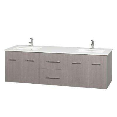 Centra 72 in. Double Vanity in Gray Oak with Solid-Surface Vanity Top in White and Under-Mount Sinks