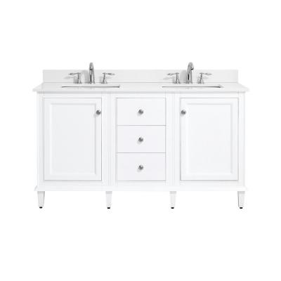 Riverpine 61 in. W x 22 in. D Bath Vanity in White with Engineered Marble Vanity Top in Winter White with White Sinks