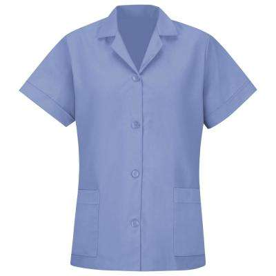 Women's Size 4XL Light Blue Smock Loose Fit Short Sleeve