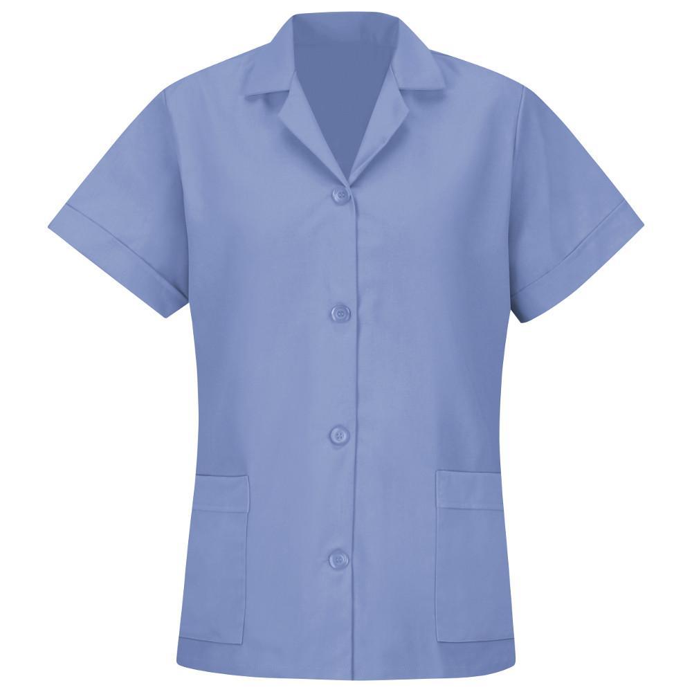 Women's Size 3XL Light Blue Smock Loose Fit Short Sleeve