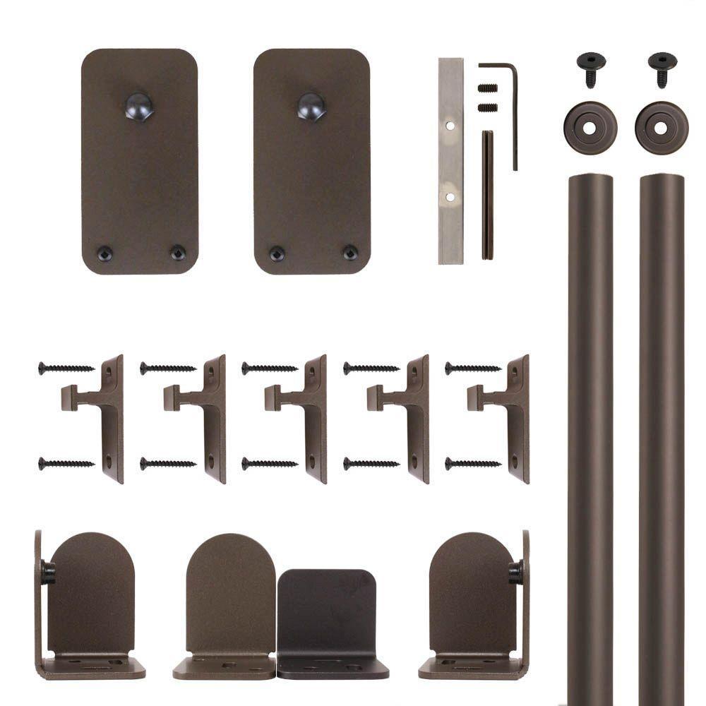 Basic Rectangle Oil Rubbed Bronze Rolling Door Hardware Kit for 3/4 in. to 1-1/2 in. Door