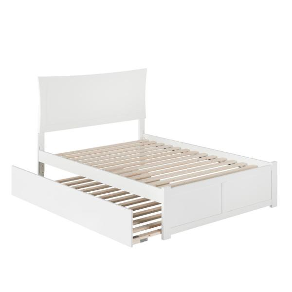 Metro White Full Platform Bed with Flat Panel Foot Board and Full Urban Trundle Bed