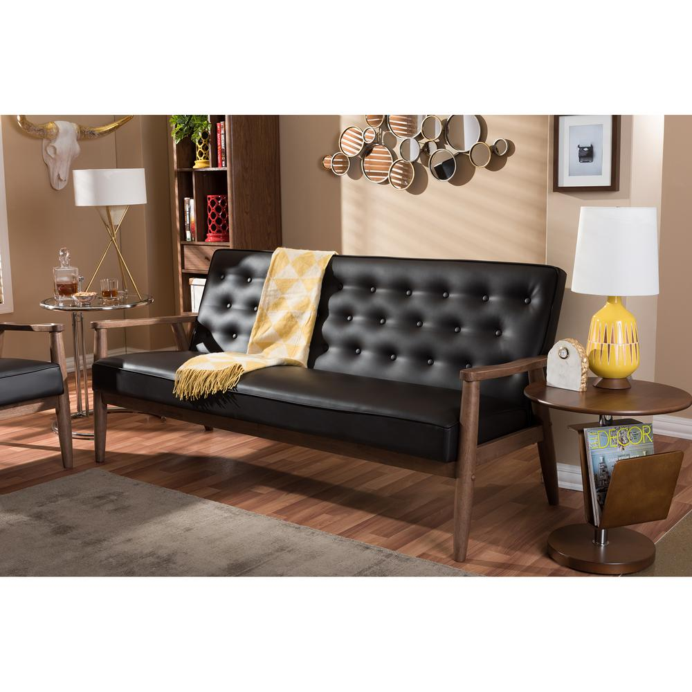 Sorrento Mid Century Brown Faux Leather Upholstered Sofa