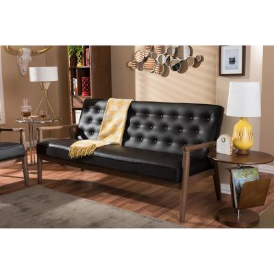 Sorrento Mid-Century Brown Faux Leather Upholstered Sofa