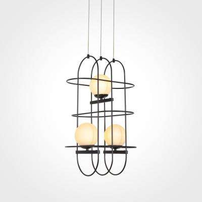 Lyra 60-Watt Integrated LED Black Chandelier with Glass Shade