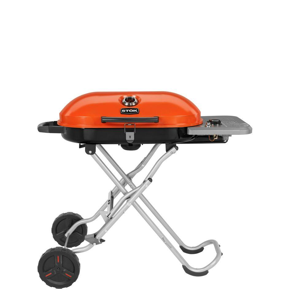 STOK Gridiron 348 sq. in. 1-Burner Portable Propane Gas Grill in Black/Orange with Insert System