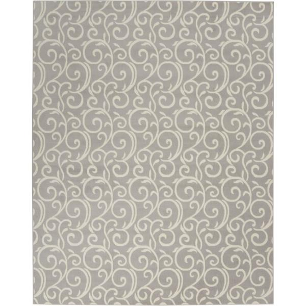 Grafix Grey Abstract Vines Botanical 8 ft. x 10 ft. Area Rug