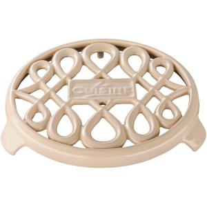 La Cuisine Cast Iron Non-slip White Trivet by